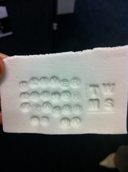 Oliver Ludlam's business card made from clay