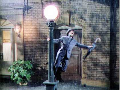 Gene Kelly during an iconic moment in Singin' In The Rain