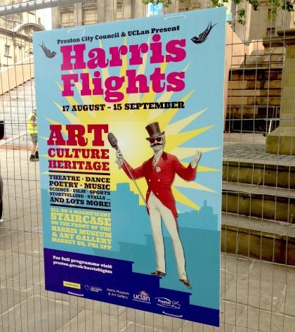 The official Harris Flights poster Preston Lancashire bwd