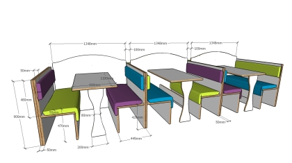 banquette seating specification for indulgence bar